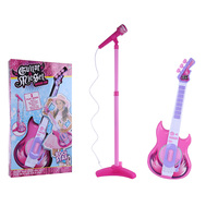 Children Electric Guitar Karoake Toy with Micphone Stand Musical Instrument Toy For Kids Christmas Gift Pink