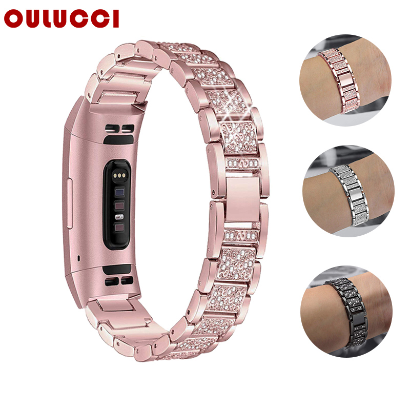 OULUCCI Diamond For Fitbit Charge 3 Band Metal Strap Stainless Steel Female Replaceable Bracelet For Fitbit Charge 2 Band