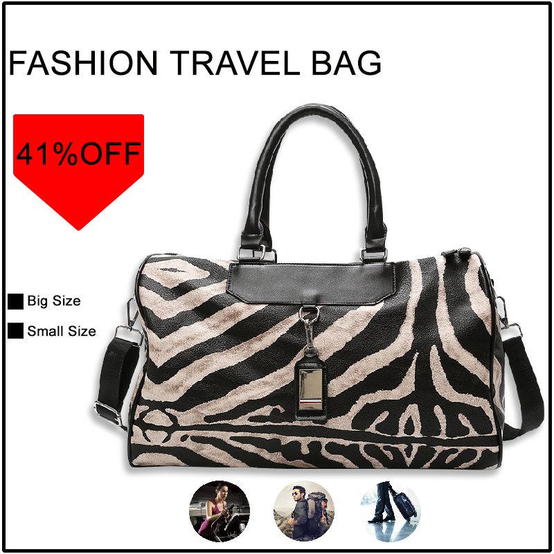 S.IKRR Fashion Travel Bag Hand Luggage Zebra Pattern Tote Bags For Women Crossbody Large Capacity Women's Bag Leather Weekender