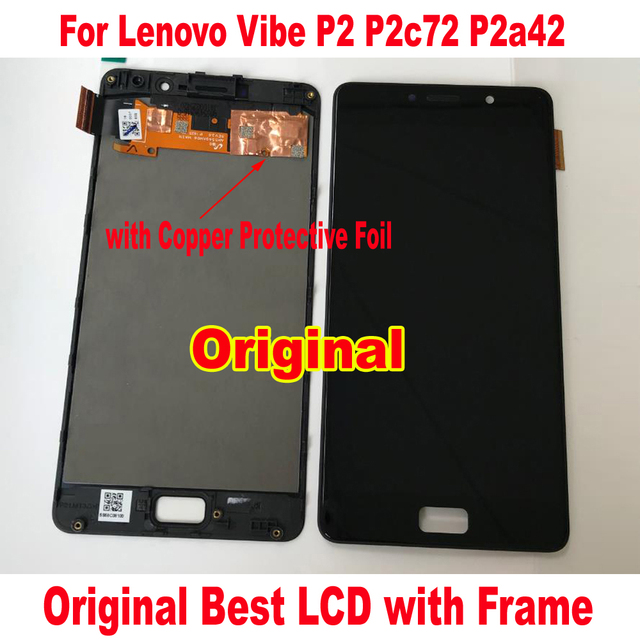 100% Original Best Working Glass Sensor LCD Display Touch Screen Digitizer Assembly With Frame For Lenovo Vibe P2 P2c72 P2a42