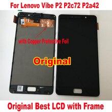 100% oryginalny najlepiej działa szkło czujnik wyświetlacz LCD ekran dotykowy Digitizer zgromadzenie z ramą dla Lenovo Vibe P2 P2c72 P2a42