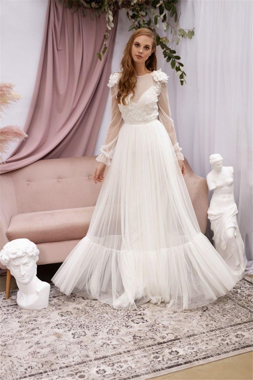 LORIE Boho Tulle Wedding Dresses Long Sleeve Open Back Beach ...