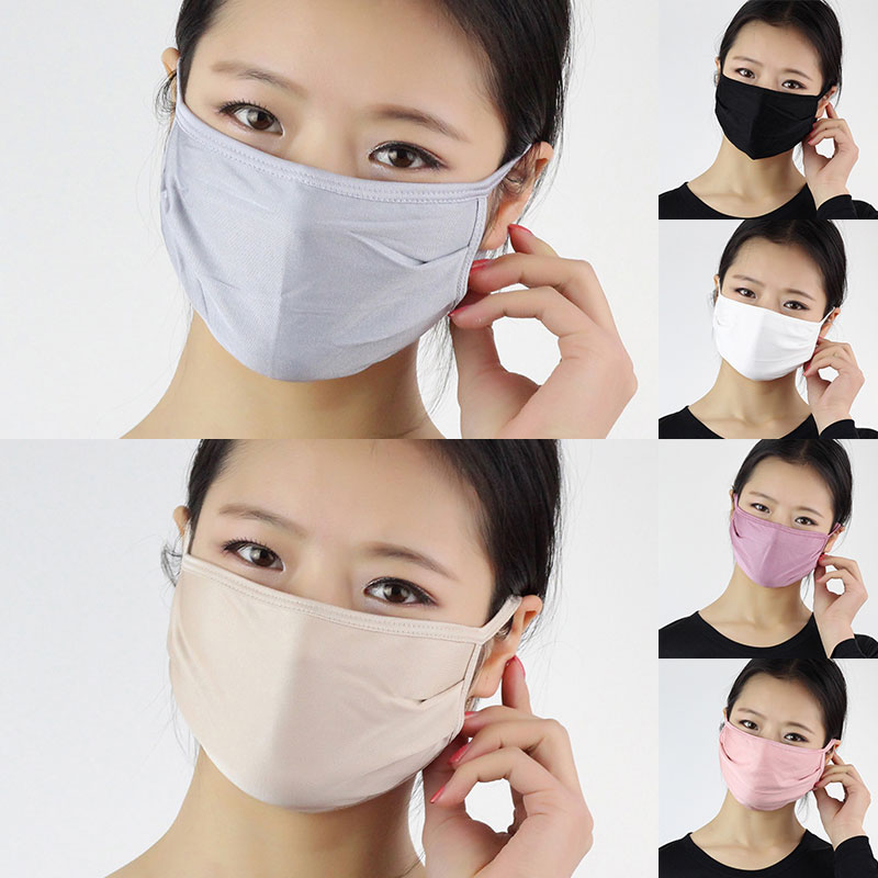 Unisex Sunscreen Silk Masks Protection Windproof Anti-Dust Mouth Face Masks Solid Color Smog Protection Repeatable Masks White
