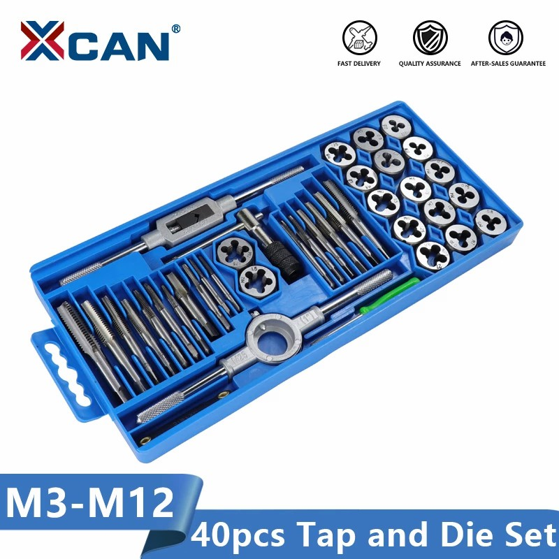 XCAN Tap Die Set 40pcs M3-M12 Metric Thread Screw Tap Wrench Die Hand Threading Tools