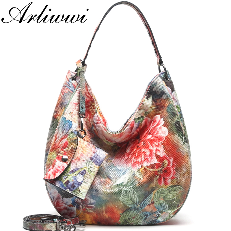 Arliwwi Brand Designer High Quality Women Fashion Synthetic Leather Hobos Handbags Female Flower Embossed Large Bags New