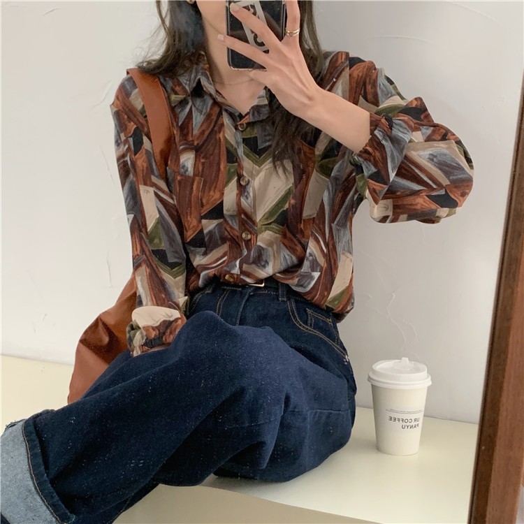 Ha318a774d5ca4aeebe30d4b0c9bd94c03 - Spring / Autumn Turn-Down Collar Long Sleeves Print Buttons Pocket Blouse