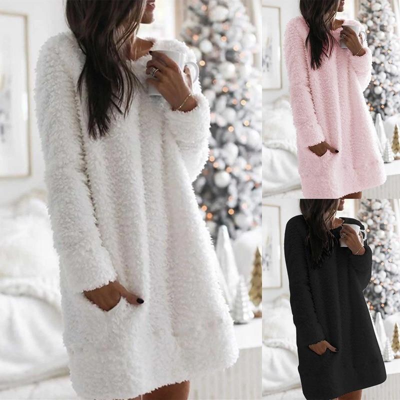 Женское плюшевое свитер, платье с длинным рукавом, повседневное Свободное платье, одежда для сна, зима осень 2020, теплые пуловеры, джемперы, платья, уличная одежда|Платья| | АлиЭкспресс