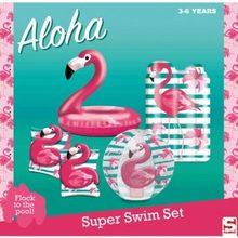Set inflatable Sambro flamingos pool bangles, float, beach ball and mat