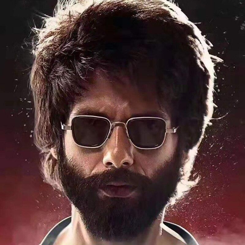 2019 New Luxury Kabir Singh India Movie Sunglasses Men Square Gold Frame Cool Sun Shades Brand Design Red Glasses For Male UV400