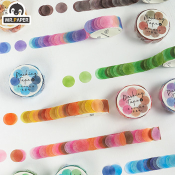 Mr.Paper 14*14mm Hard Candy Dot Color Washi Bullet Journaling Writing Washi Tape Deco Gift Label Ins Masking Tapes Easy to Tear 1