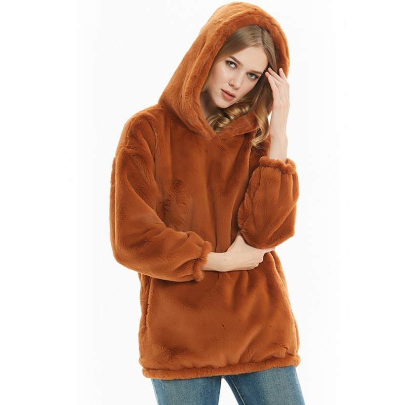 Women Fashion Simple Winter Warm Long Sleeve Pullover Hoodie Faux Fur Plush Hoodie Coat
