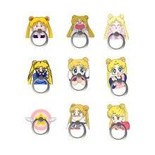 Universal Cartoon Sailor Moon Phone Stand Holder Tsukino Usagi Finger Ring Adjustable Frame Foothold Ring Stand Cosplay Prop