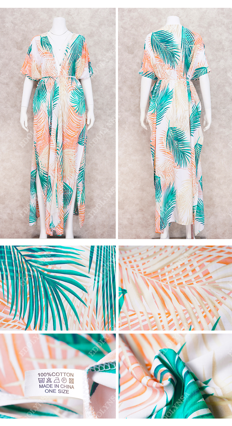 Ha318e8405d3344af85628d6cba68e542t - Bohemian Printed Half Sleeve Summer Beach Wear Long Kimono Cardigan Cotton Tunic Women Tops Blouse Shirt Sarong plage N796