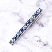 Роскошный эмалированный зажим для галстука синий цветочный дизайн