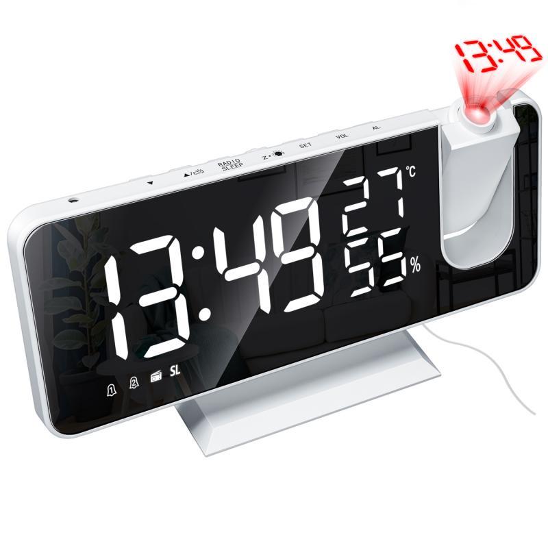 Цифровое портативное радио, светодиодный цифровой будильник, радио с температурой и влажностью, многофункциональные часы с зеркальной проекцией