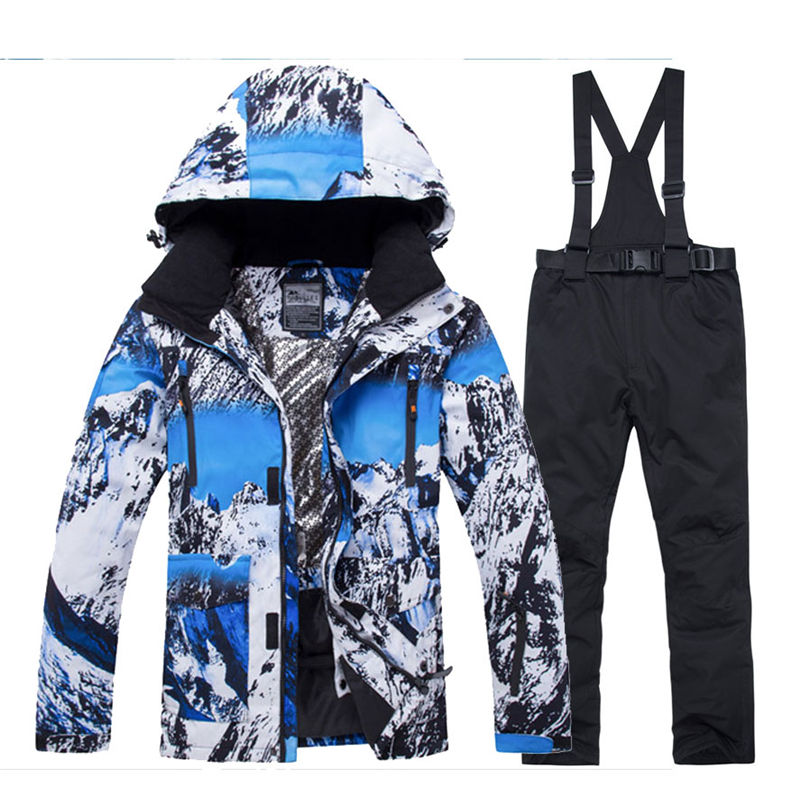 Image 4 - 2019 New Winter Men Thermal Ski Suit Male Windproof Waterproof  Skiing and Snowboarding Sets Jacket Pants Suit Snow CostumeSnowboarding  Sets