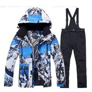 Image 4 - 2020 חדש חורף גברים תרמית חליפת סקי זכר Windproof עמיד למים סקי וסנובורד סטי מעיל מכנסיים חליפת שלג תלבושות