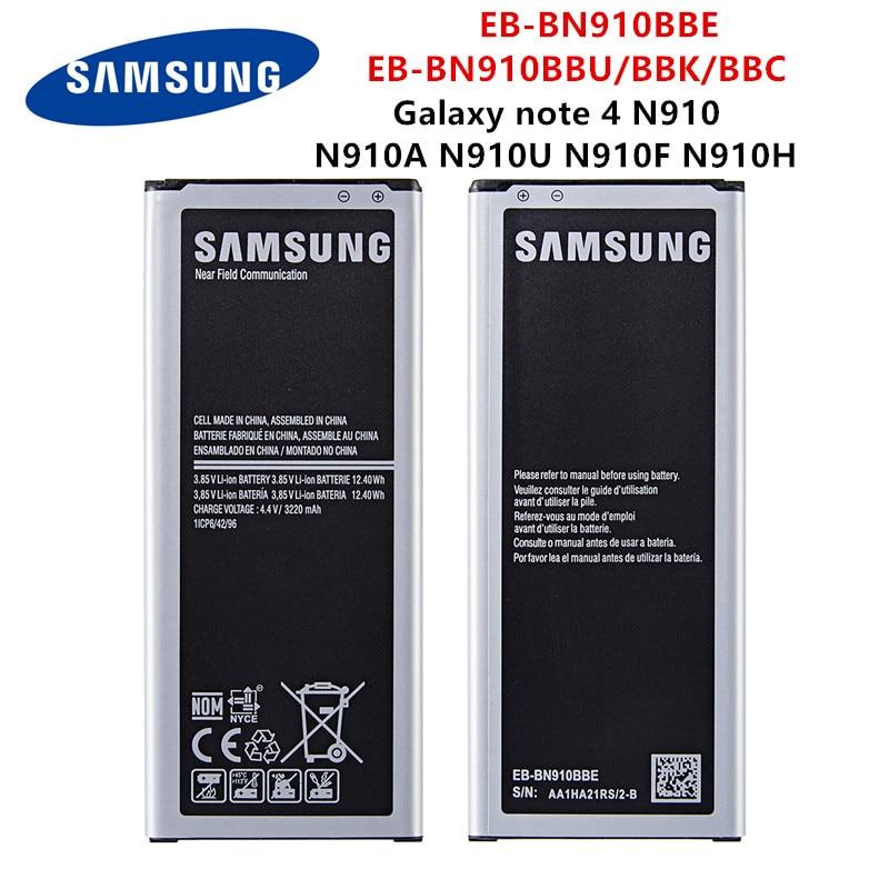 SAMSUNG Orginal EB-BN910BBE EB-BN910BBK EB-BN910BBC EB-BN910BBU 3220mAh Battery For Samsung Galaxy Note 4 N910 N910A/V/P/T/H/F