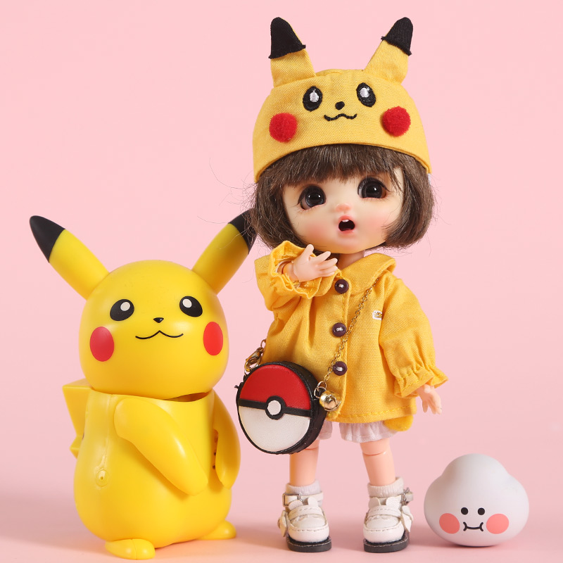 Ob11 baby <font><b>clothes</b></font> Pikachu hoodie set GSC body circle Molly PICCODO <font><b>1/8</b></font> <font><b>bjd</b></font> doll <font><b>clothes</b></font> suit bag Doll accessories image