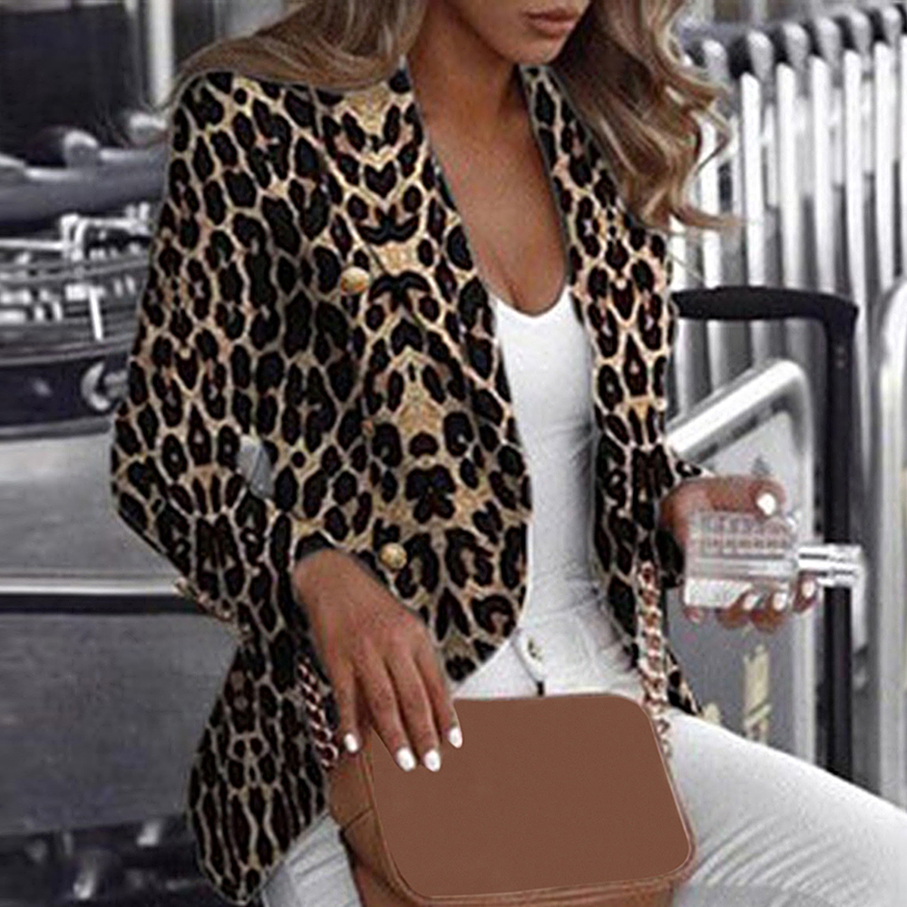 2019 Autumn Fashion Leopard Print Blazer Long Sleeve Coat Sexy Women Blazers Jackets Office Lady Blazer Tops Women Coat