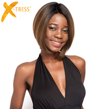 цена на Short Straight Bob Lace Wig With Baby Hair Side Part X-TRESS Ombre Brown Color Lace Front Synthetic Hair Wigs For Black Women