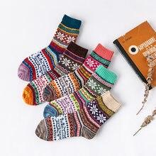 2020 novo inverno 5 pares/lote grossas de lã quente meias femininas vintage colorido natal presente meias tamanho livre