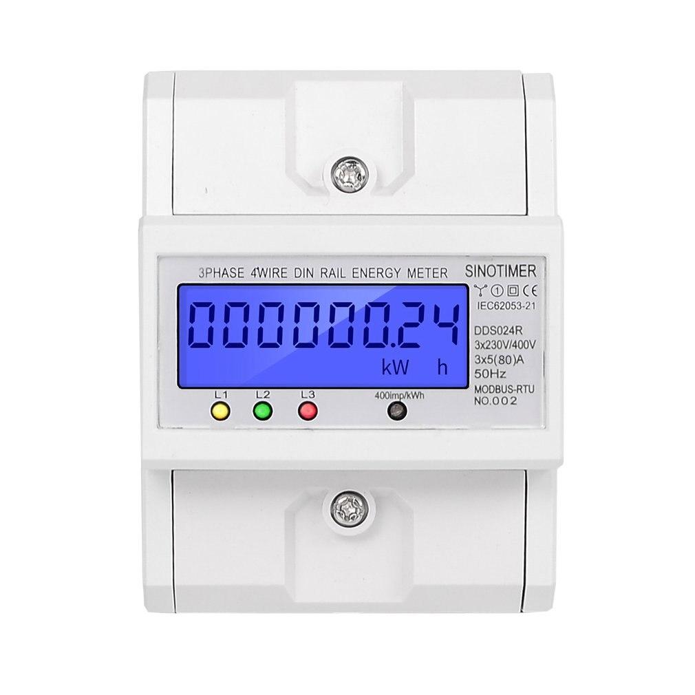SINOTIMER DDS024R RS485 Modbus Rtu din рейка 3 фазы 4P электронный ваттметр энергопотребление счетчик с ЖК подсветкой - 5