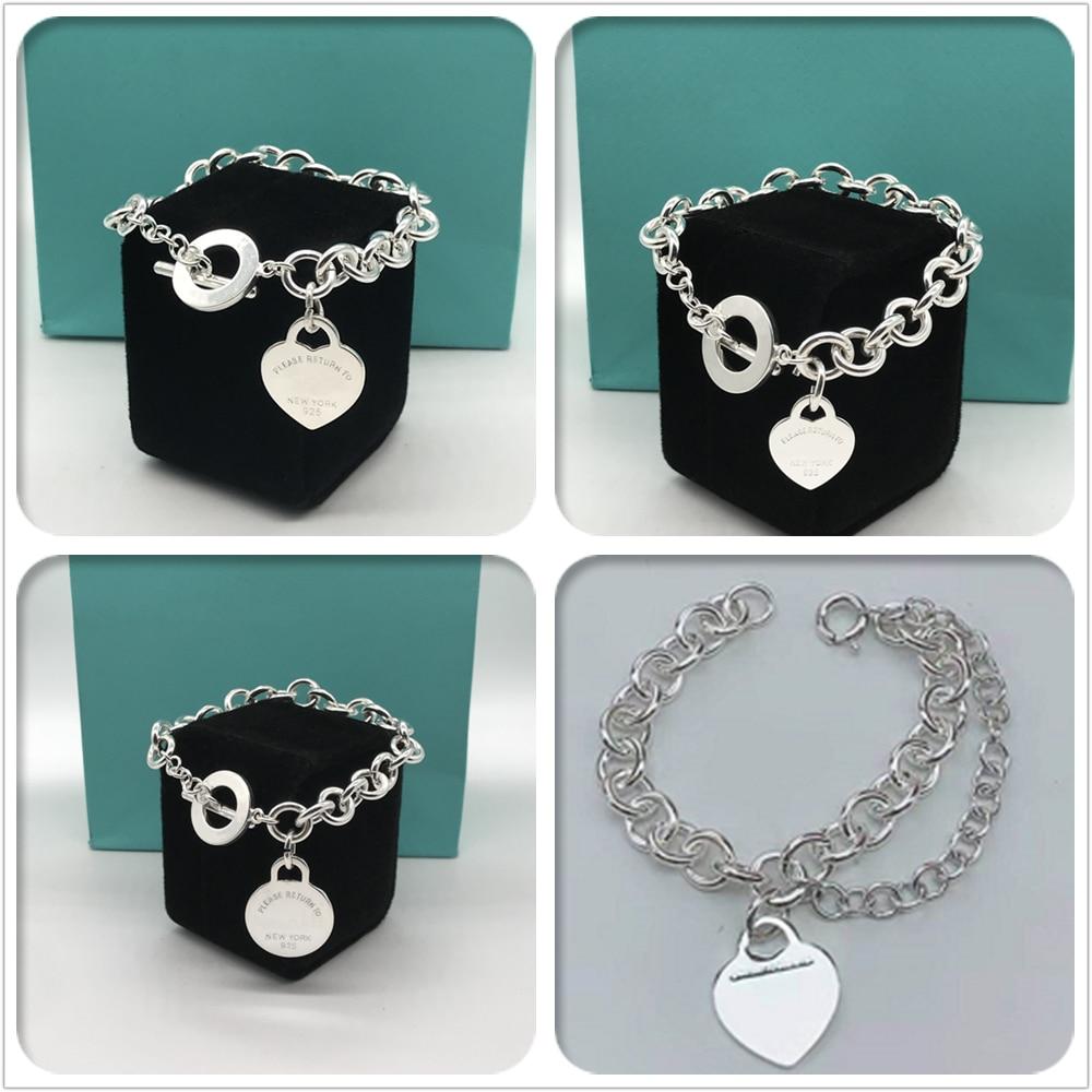 100% 925 sterling silver love bracelet, superb craftsmanship, classic miniature fashion original jewelry gift