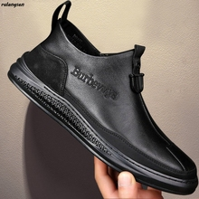 Shoes Boots Black Korean Men's Casual in Increase Rulangs Mid-High-Top 38-44