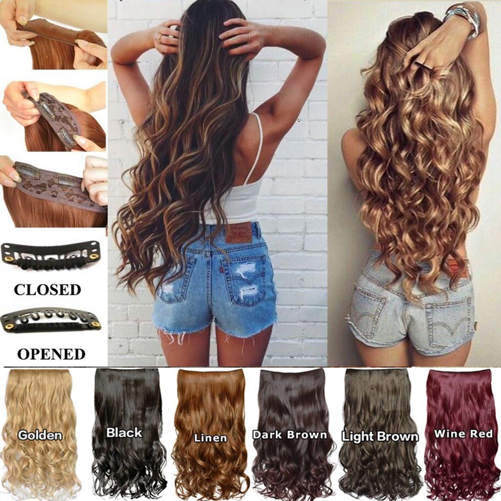 Длинные вьющиеся женские накладные волосы на клипсе, 20 дюймов, 10 зажимов, черные, коричневые высокотемпературные синтетические волосы, волн...