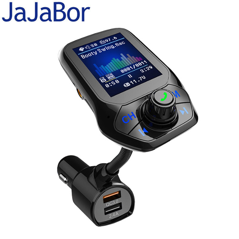JaJaBor FM Transmitter FM Modulator Bluetooth Car kit Handsfree AUX Audio Wireless Stereo A2DP Car MP3 Player Quick Charge QC3.0 image