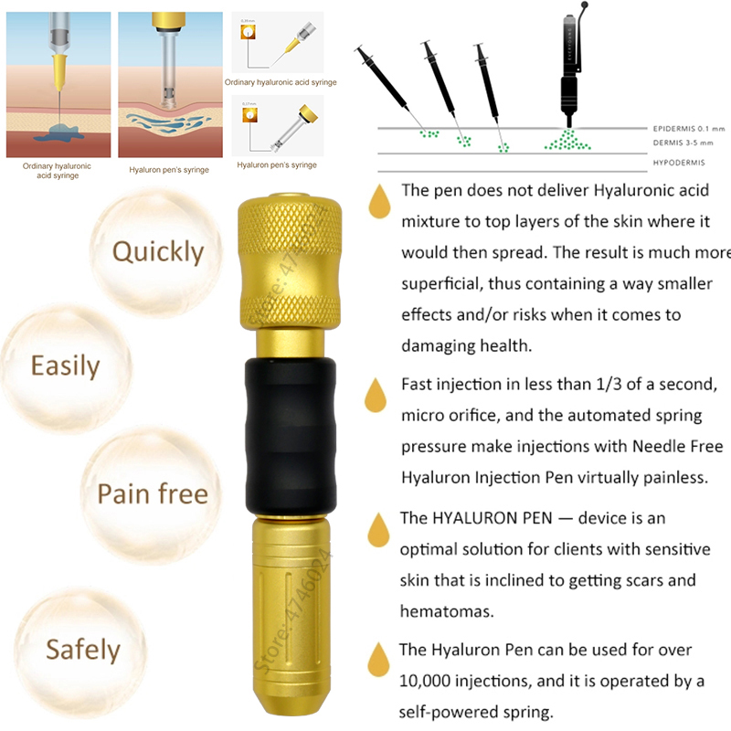 0 3ml NonInvasive Hyaluronic Pen Pressure Atomizer Hyaluron Guns For lip Filling Anti Wrinkle face filler acid Injection Beauty in Tattoo Tips from Beauty Health