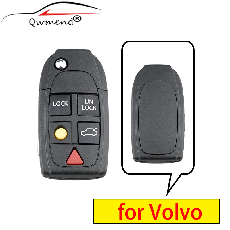 QWMEND 5 Buttons Replacement Smart Car key Fob Case for Volvo XC70 XC90 V50 V70 S60 S80 C30 Remote Flip Key Shell|Car Key|   - AliExpress