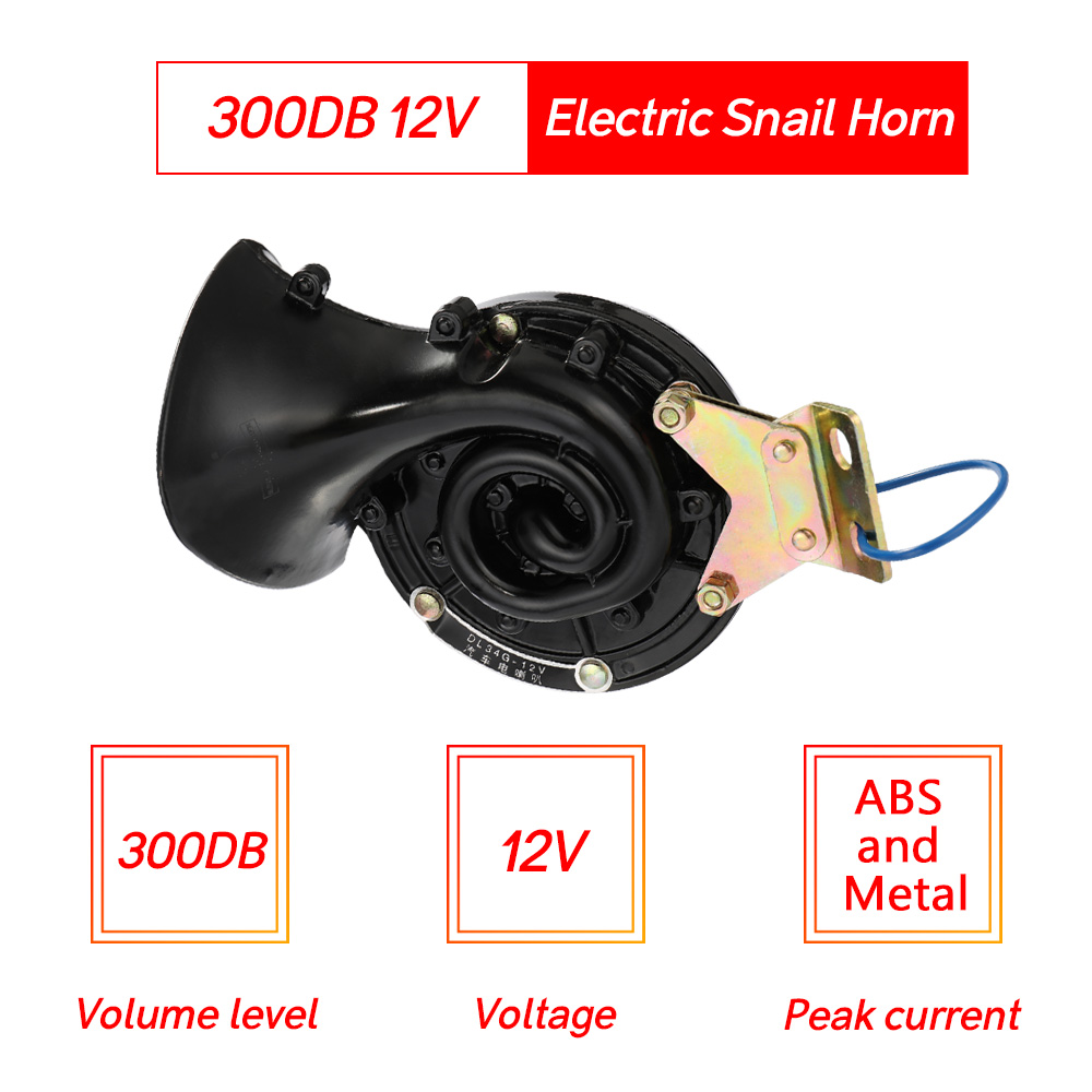 Image 2 - Car Styling Loud 300DB 12V 24V Black Electric Snail Horn Air Horn Raging Sound For Car Motorcycle Truck Boat-in Multi-tone & Claxon Horns from Automobiles & Motorcycles