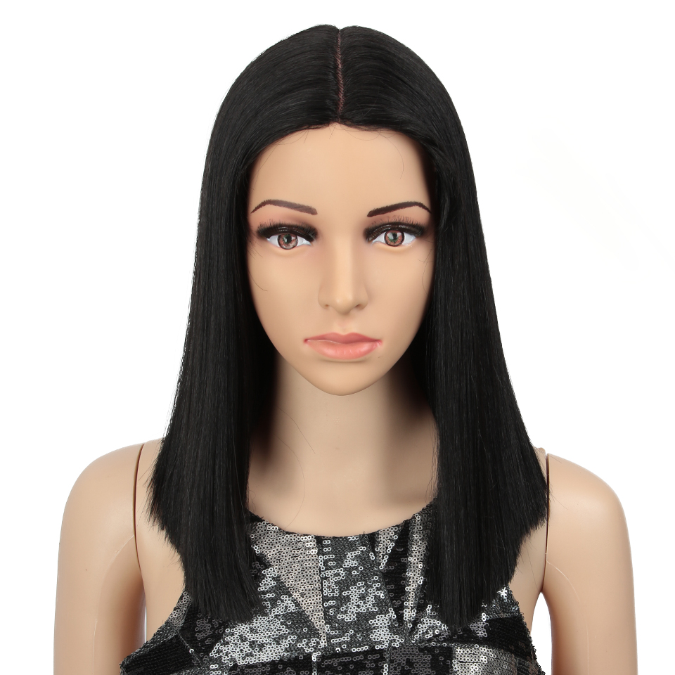 MAGIC Hair 14inch Synthetic Lace Front Wig Short Straight Bob Wigs For Woman Black Brown Classic Middel Part Free Shipping