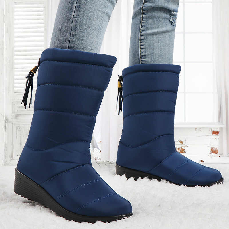Winter Boots Women Mid-Calf Down Waterproof Boots Ladies Snow Woman Rubber Wedge Botas Fur Warm Black Botas Mujer Invierno 2020