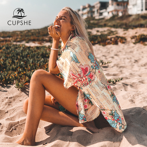 Image 2 - CUPSHE Floral Print Buttoned Cove Up Sexy Long Loose Shirt Robe Capes Women 2020 Summer Beach Bathing Suit Beachwear