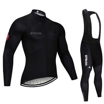 2019 strava outono manga longa camisa de ciclismo conjunto bib calças ropa ciclismo roupas de bicicleta mtb camisa uniforme roupas masculinas