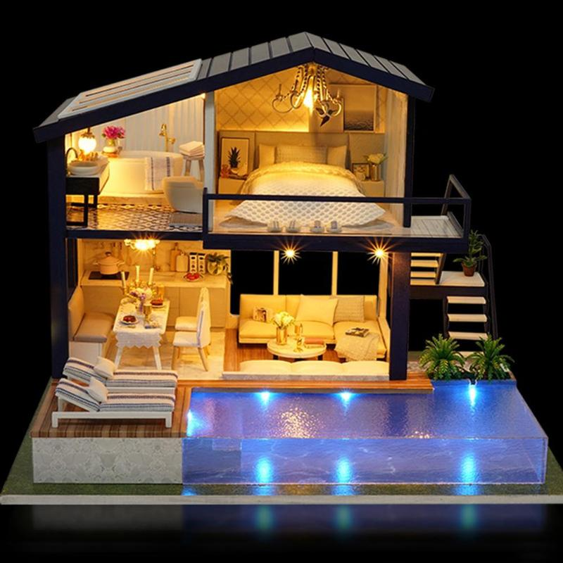 lovely <font><b>Girl</b></font> DIY 3D Wooden Mini Dollhouse Time Apartment Doll <font><b>House</b></font> Furniture Educational <font><b>Toys</b></font> Furniture <font><b>For</b></font> children Love Gift image