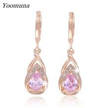 hotsale cubic zirconia Dangle earings for Women rose gold Drop long Earrings crystal Wedding Party Jewelry 2019