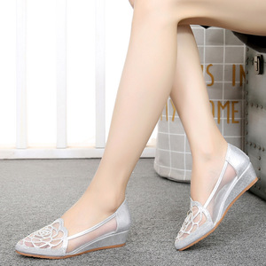 Image 3 - STAN SHARK New Womens Summer Fish Mouth Wedge Sandals Shoes Rhinestones OL Hollow Net Shoes