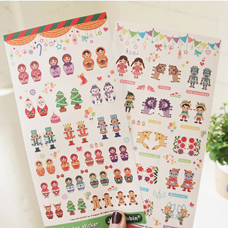 2 Sheets Russian Dolls Gifts Envelope Sealed Paste Lovely Scrapbooking Diary Journal Matryoshka Doll Paper Decorative Stickers