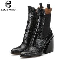 BONJOMARISA New Plus Size 35-48 Brand Designer Booties Ladies Fashon Fretwork Ankle Boots Women 2019 High Heel Shoes Woman недорго, оригинальная цена