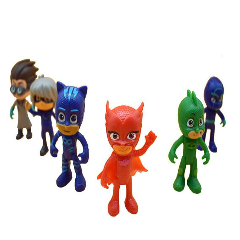 Hot Sell 6 Pcs/Set Pj Masks Anime Kids Toys Action Figure Pvc Model Children Birthday Gifts