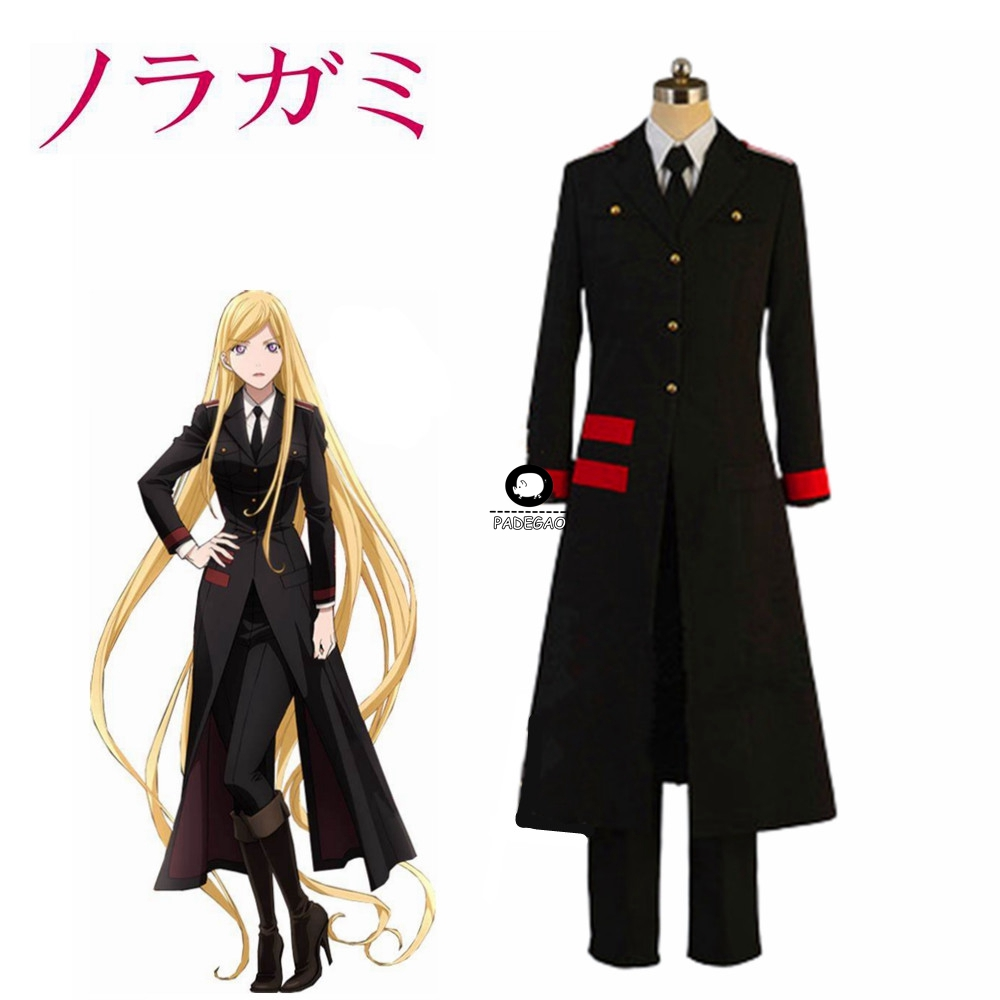 NEW Noragami Aragoto Bishamon Long Jacket cosplay costume Uniform Whole set Custom Made Free Shipping
