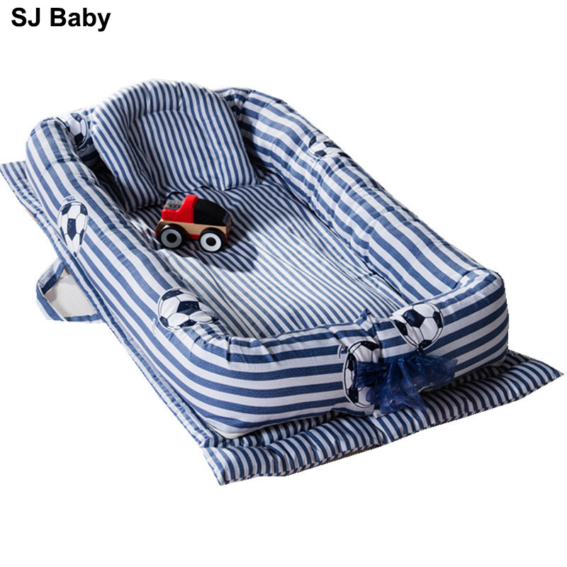 Newborn Baby Portable Crib Foldable Travel Bed Nest Bed Cotton Bumper Cribs Pillow Travel Bed For Children Infant Room Bed Fence