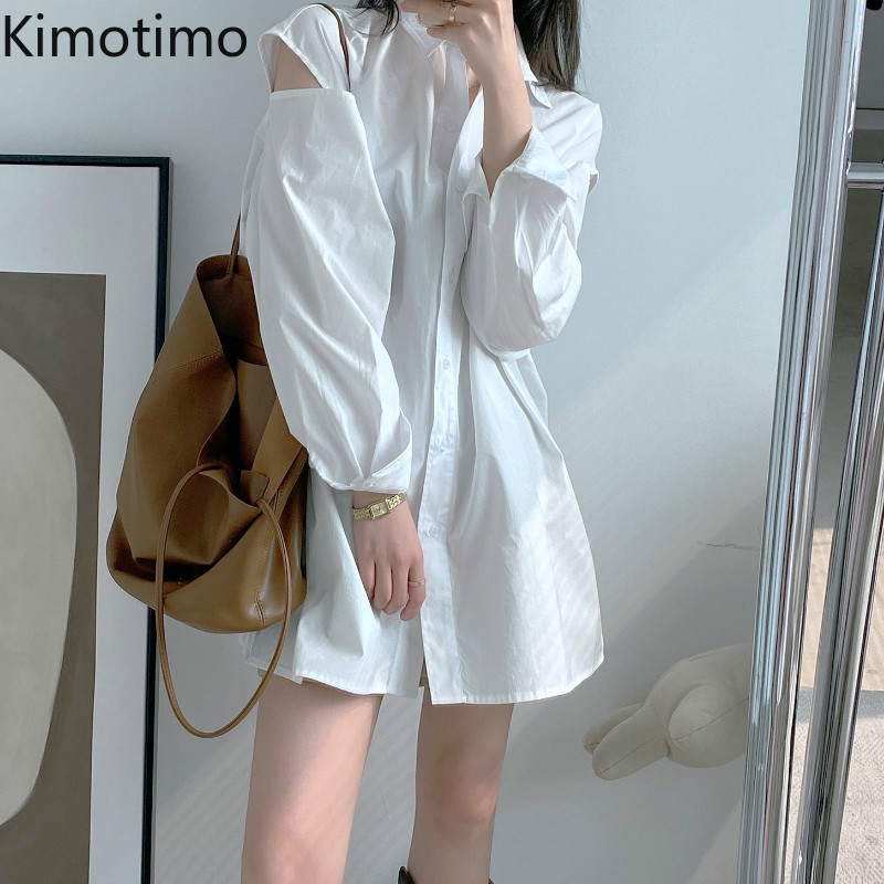 Kimotino Women Blouse Shirt Long Sleeve Hollow Out Turn-down Collar Solid High Street Loose Casual Fashion Long Blouse Shirt