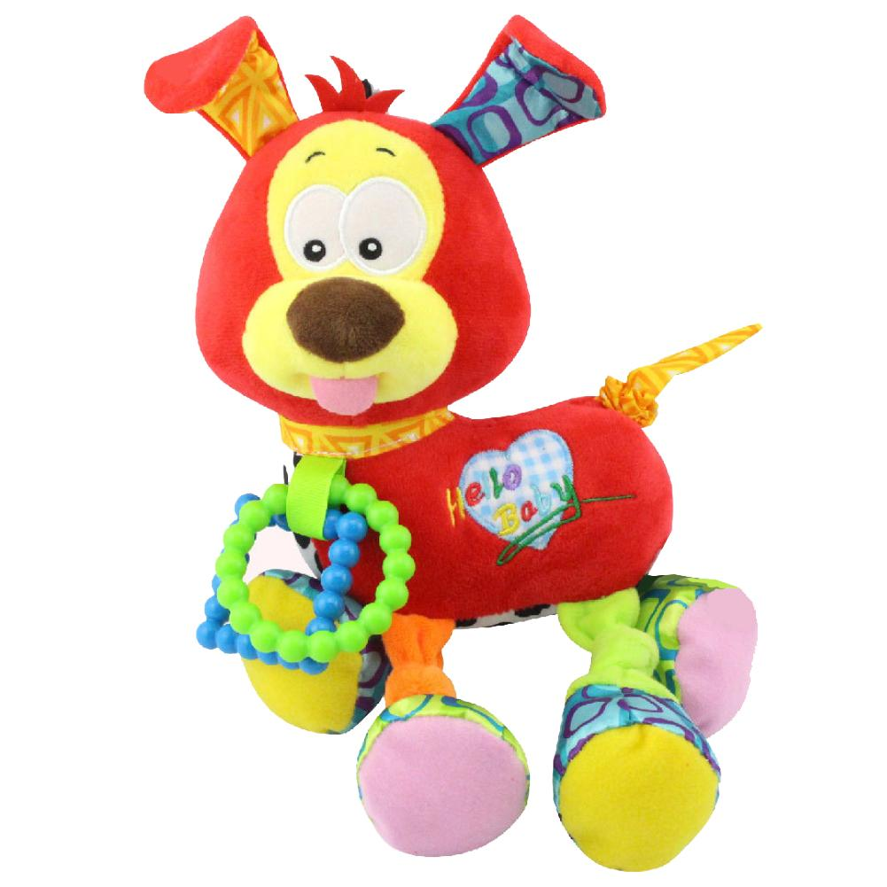 Baby Toddler Infant Cotton Plush Doll Puppy Educational Playing Rattle Toy Gift