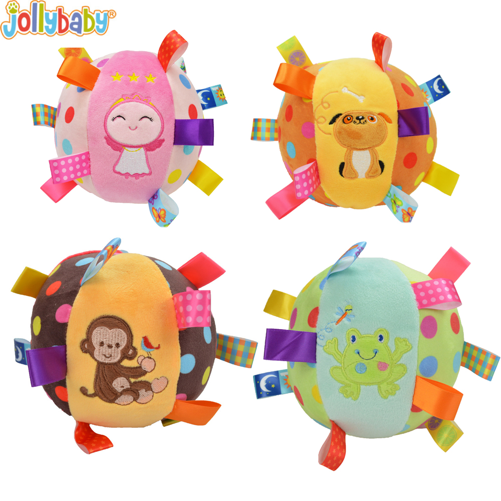 1PCS Baby Cartoon Rattle Toys Baby Plush Ball Toys Colorful Softy Rattle Mobile Ring Bell Toy