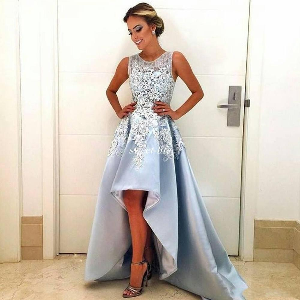 Light Sky Blue Prom Dresses 2020 High Low Formal Party Wear Gowns A-Line Satin Special Occasion Dress Arabic Evening Dress